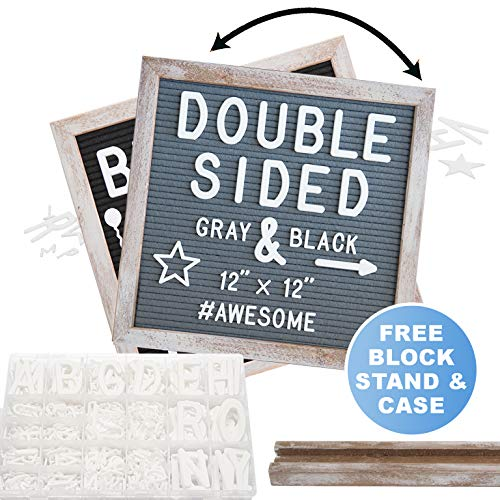 Rustic Wood Frame Gray Felt Letter Board 12x12 inches. Pre-Cut Letters. Additional Symbols & Emojis, Letter Storage Case, Farmhouse Block Stand ()