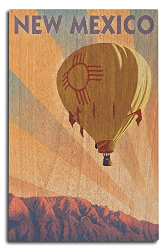 New Mexico Balloon - New Mexico - Hot Air Balloon - Lithography (10x15 Wood Wall Sign, Wall Decor Ready to Hang)