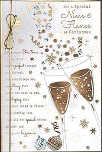 Para un especial sobrina y novio en Navidad tarjeta