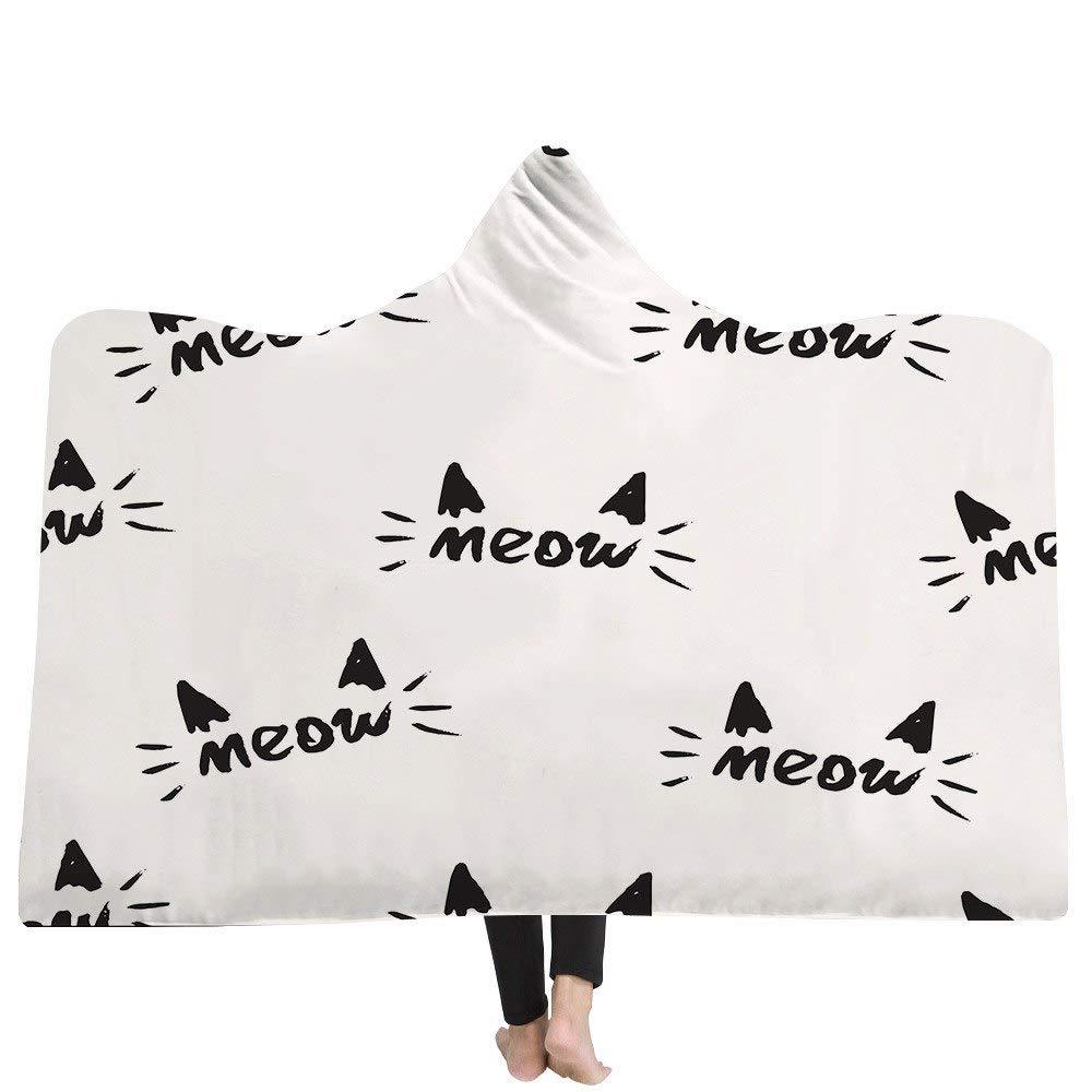 Grea Lovely Cat Patrón Impreso en 3D Manta con Capucha Fleece usable Manta de Tiro Manta de Tiro en Tapa-2,150x200cm Hogar y cocina