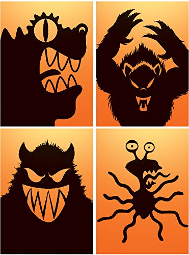 Haunted House Halloween Party Decoration Window Poster Decal Freaky Monsters