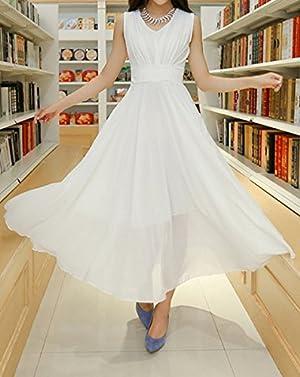 V-Neck Sleeveless Beam Waist Solid Color Stylish Chiffon Long Dress For Women - M