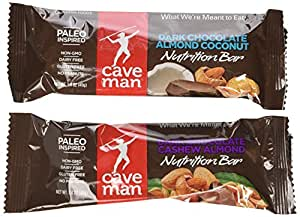 Caveman Nutrition Bars 10 Dark Chocolate Cashew Almond Bars and 10 Dark Chocolate Almond Coconut Bars. Gluten Free, No Peanuts