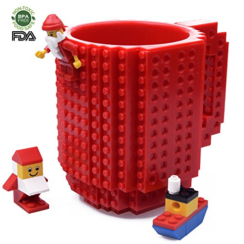 Creative DIY Build-on Brick Mug, Lego Style Coffee Mugs, Gift Toy Cup For Kids & Adults, By Kyonne TM (red)