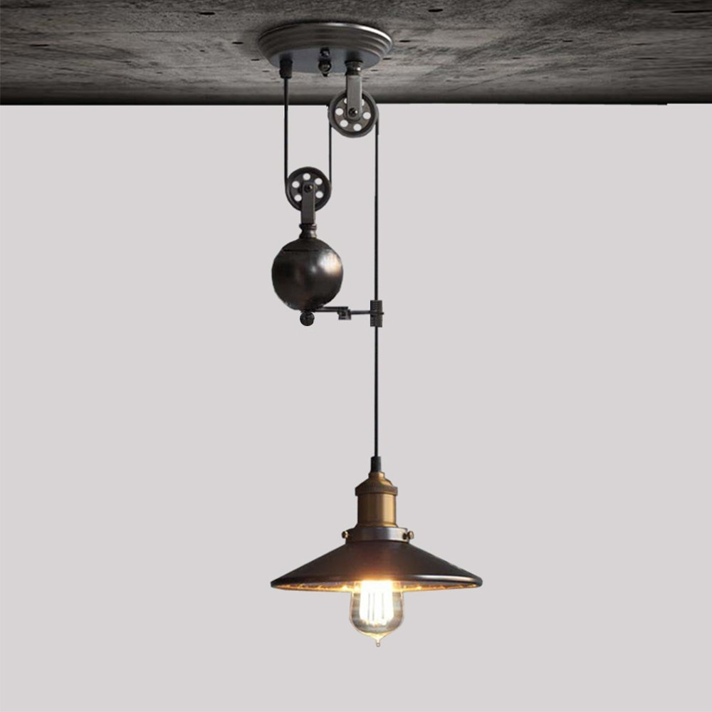 iPstyle Pendant Lamp, Loft Industrial Pendant Lights Loft Pulley Lift Droplight Vintage Lighting for Bedroom Restaurant Hotel Farmhouse Cafes, Hallway Decoration