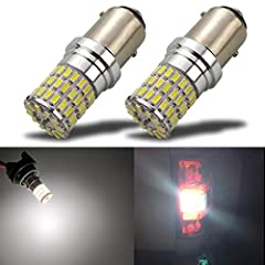 Non-polarity design, the brightest in the market.Features Dual Brightness: The Dim mode is Tail lights or DRL, while the Bright mode is Brake lights or Turn Signal lights. High Brightness LED: 66SMD 3014 chipset. Working Voltage: 9-30V (fit 1...