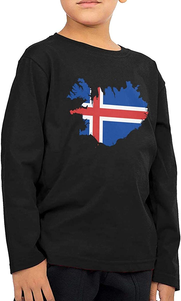 CERTONGCXTS Childrens Iceland Map Flag ComfortSoft Long Sleeve T-Shirt