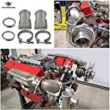 PQYRACING 1 Pair 3.0' Vband 90 Degree Cast Turbo Elbow Adapter Flange 304 Stainless Steel + Clamp for T3 T4 Turbocharger