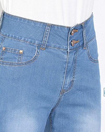 Vaqueros Alta Comodos Rectos Elasticos Pantalones ShiFan Cintura Azul Mujer Pata Elefante U6XqnOT