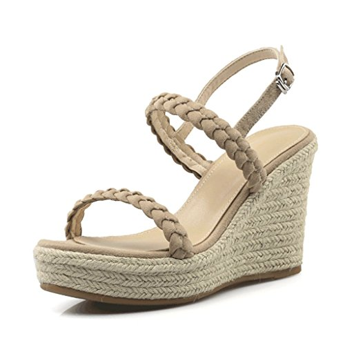 Women's Sexy Comfortable Shoes Wedge toe Heel Khaki Platform Open High Sandals Heels 5dIxAwFd