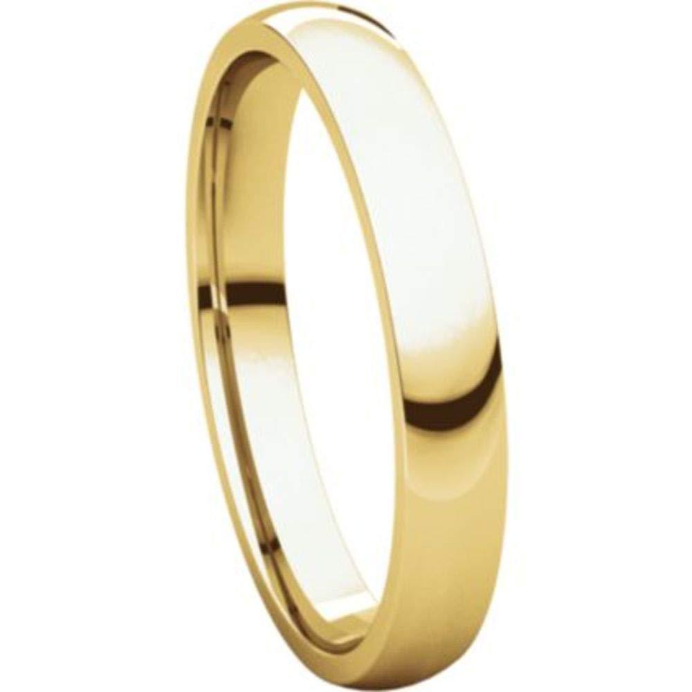Size 14 Bonyak Jewelry 10k Yellow Gold 3 mm Lightweight Comfort-Fit Band