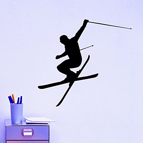 (Wall Decal Vinyl Sticker Downhill Skiing Skier Ski Snow Freestyle Jumping Extreme Sports Wall Decals Murals Winter Gift Kids Room Decor)