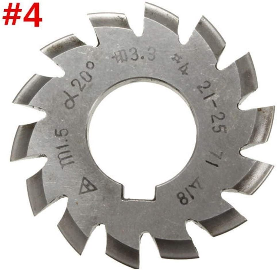 Schneidewerkzeug Modul 1.5 PA20 Bohrung 22mm # 1-8 HSS Involute Zahnradfr/äser Gr/ö/ße : #6