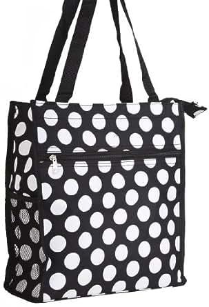 Black White Polka Dot Travel Tote Bag 12-inch
