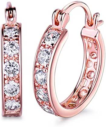 GULICX Rose Gold Plated Copper Cubic Zirconia Circle Ear Clip Creole Huggie Hoop Earrings Fish Hoop