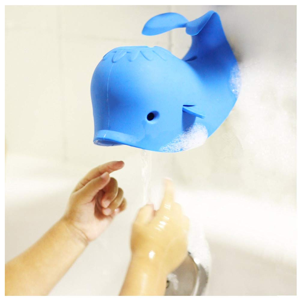 Odowalker Faucet Spout Cover Blue Whale Baby Cute Soft Silicon Bath Tub Toddlers Child Safety Protection from Injury Cover Universal Fit