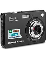 """AbergBest 21 Megapixel 2,7""""LCD wiederaufladbare HD Digitalkamera Digitale Videokamera Studentenkamera Indoor Outdoor für Erwachsene/Senioren/Kinder (Schwarz)"""