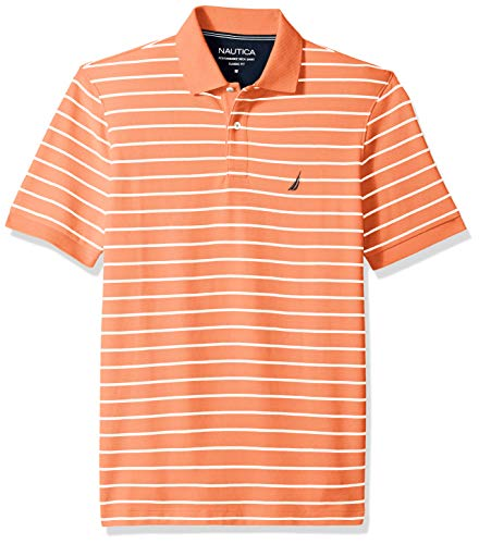 Nautica Men's Classic Fit Short Sleeve Striped Polo Shirt, Guavapunch, X-Large ()