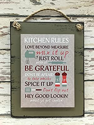 "KITCHEN RULES SIGN Wood Wall Hanging Distressed Reclaimed ""Kitchen Rules"" 6X8 SAGE Green Burgundy Burg"