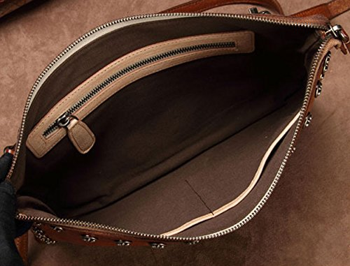 Size Handbags Genuine Crossbody Purse Leather Womens L Bag Shoulder brown Clutch Wristlet qXnz5wx