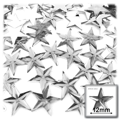 (The Crafts Outlet 144-Piece Loose Flat Back Acrylic Star Rhinestones, 12mm, Crystal Clear )