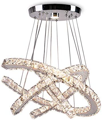 Qihang LED Crystal Chandeliers 3C Modern Pendant Light Adjustable Stainless Steel Ceiling Light Fixture