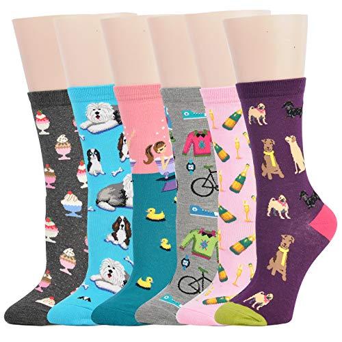 Jormatt 6 Pairs Women Cut Animals Dogs Crew Socks With Funny Champagne Ice Cream Design Cotton Ankle Socks,Women Shoe Size 35-39