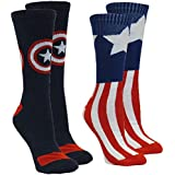 Marvel Captain America Men's Athletic Crew Socks, 2-Pair Pack, Sock Size 10-13 / Shoe Size 6-12