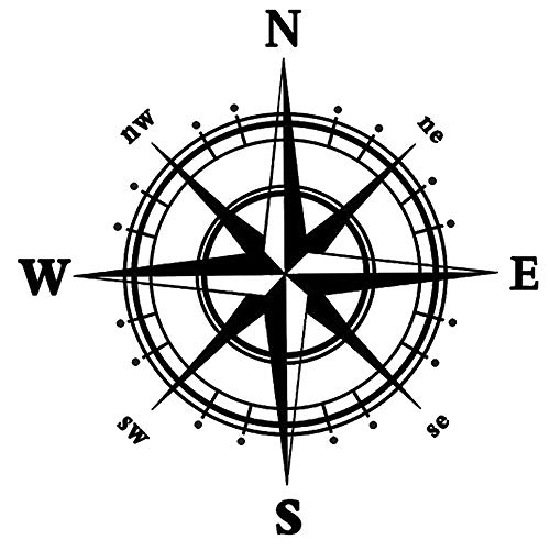 Boodecal Navigation Compass Wall Decals Stickers Decors for Living Room (black) 23*23 Inches