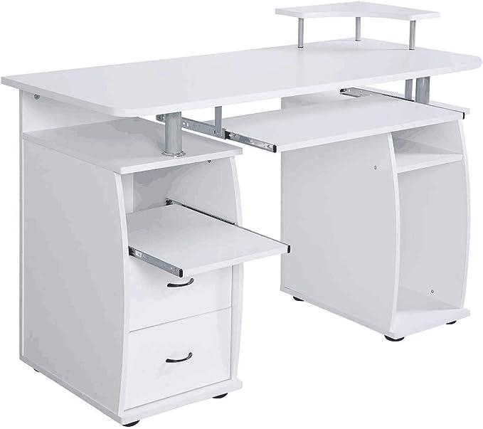 Bianco DREAMADE Scrivania Computer con Cassetti per Ufficio Scrivania Porta pc in Legno con Ripiano Tastiera