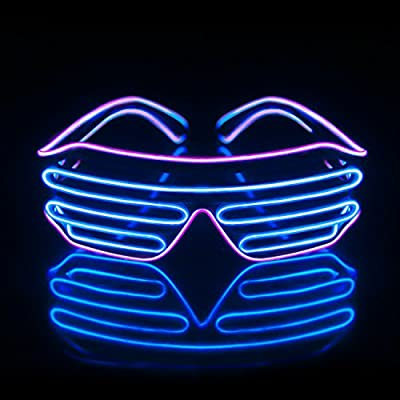 7d7cab17ce5 Light Up EL Wire Neon Shutter Glasses Flashing LED Rave Sunglasses for 80s