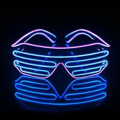 f69dd45bbf Light Up EL Wire Neon Shutter Glasses Flashing LED Rave Sunglasses for 80s
