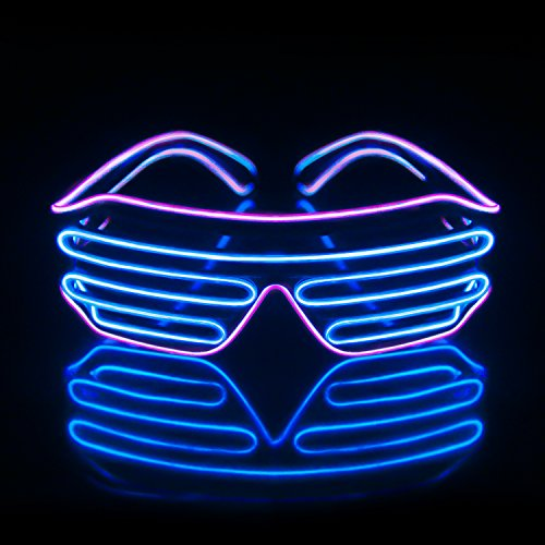 Light Up EL Wire Neon Shutter Glasses Flashing LED Rave Sunglasses for 80s, EDM, Parties Decorations(Purple+Blue)
