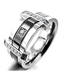 TEMEGO Jewelry Mens Cubic Zirconia Stainless Steel Ring, Charm Elegant Wedding Band, Black Silver