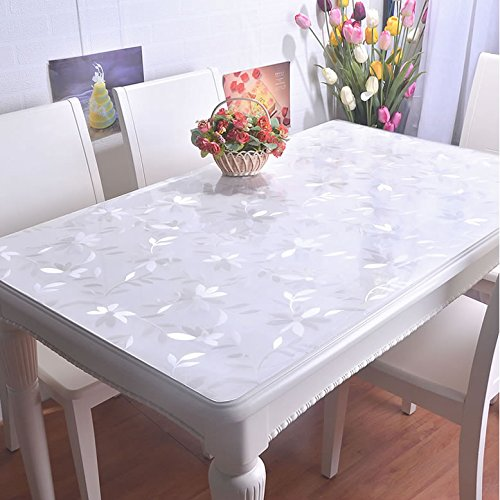 VALLEY TREE 1.5mm Clear Table Cover Protector PVC Desk Pad Soft Glass Dining Tablecloth Transparent Top Cover Heavy Duty Plastic Mat for Home/Kitchen/Office