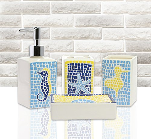 4-Piece Bathroom Accessory Set - Ceramic Sea Animal Tiles, Features Soap Dispenser, Three Hole Toothbrush Holder, Tumbler, Soap Dish