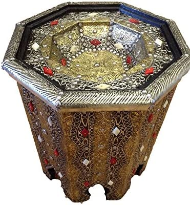 Moroccan Octagonal Table in Carved Metal and Glass Top Brass Finish