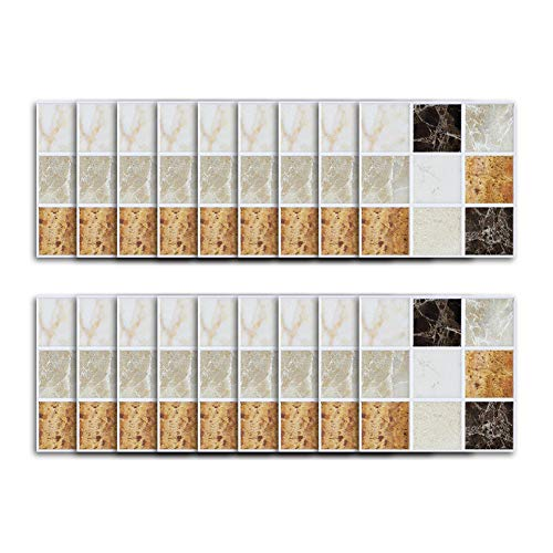 YTLS 3D Self Peel and Stick Back-Splash Tiles, Mosaic 3.9 x 3.9 in for Bathrooms and Kitchens, Wall Tile Square Sheets, Neutral Colors, 18pcs