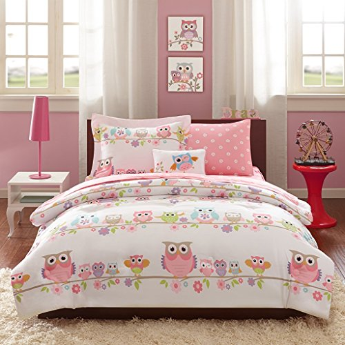 Girls OWL Bedding Full Pink White Blue Green Purple Orange Comforter Set + Sheets + Pillowcases + 2 Matching Shams + 1 Decorative Throw Pillow + H.S. Sleep Mask Owls Theme Teen Kids Comforters (Tiffany Blue And White Comforter Set)