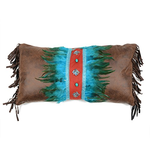 Sonoran Sky Turquoise Feather & Diamonds Southwestern Pillow by Black Forest Décor
