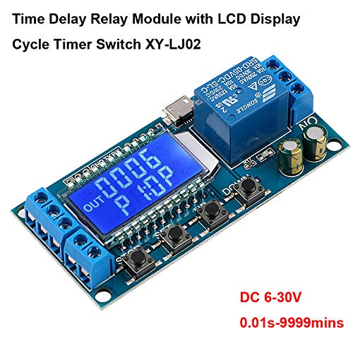 MakerHawk Time Delay Relay, 12V 5V USB Relay Module 6-30V Delay Controller Board Delay-Off Cycle Timer Control Switch with LCD Display Support Micro USB 5V Power Supply