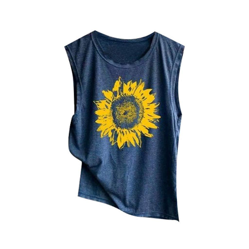 Mysky Fashion Women Summer Casual Sunflower Print Vest T-Shirt Ladies Brief Sleeveless Loose Tank Top Blouse Navy