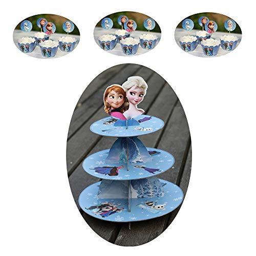 3 Tier Frozen Cupcake Stand | Frozen Cake Toppers and Wrappers of 12 Set – Frozen Party Decorations – Elsa Anna Frozen Birthday Party Supplies ()