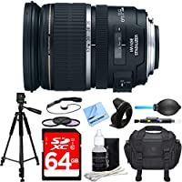 Canon EF-S 17-55mm F/2.8 IS USM Wide Angle Zoom Lens Deluxe Accessory Bundle includes Lens, 64GB SDXC Memory Card, Tripod, 77mm Filter Kit, Lens Hood, Bag, Cleaning Kit, Beach Camera Cloth and More