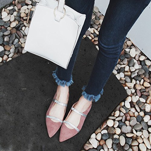 Comfity Mules For Women, Pointed Toe Slippers Two Narrow Single Band Slides Backless Dress Flats Pink