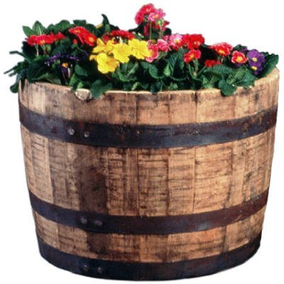 Real Wood Products Hwb Half Oak Whiskey Barrel Planter