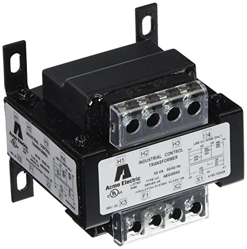 Acme Electric AE060100 AE Industrial Control Transformer, 1 Phase, 0.1 kVA, 50/60 Hz, 240 x 480, 230 x 460, 220 x 440 Primary Volts, Group VI, Steel, Black