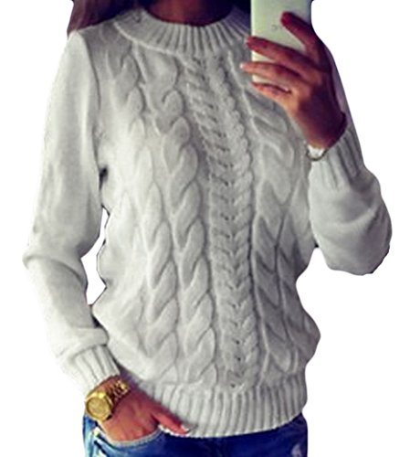 Chunky Knit Jumper (Locryz Locry Women Classic Chunky Raglan Sleeve Ribbed Cable Knit Pullover Sweater Jumper L, White)
