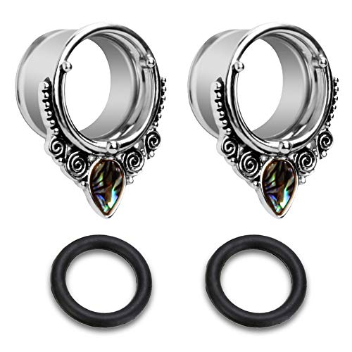 Briana Williams Sea-Shell Stainless Steel 8mm 0 Gauges for Ears Single Flare Ear Tunnels Expander Plugs Stretcher w Double Rubber - Flare Gauge 0 Single