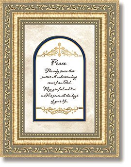 Framed Tabletop Christian Verses - Peace A Gift From the Heart Polystyrene Glass Paper Metal 6'' W x 8'' H